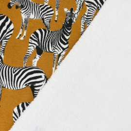 Sweat with minkee reverse side  A zebra's life - yellow x 29cm