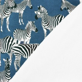 Sweat with minkee reverse side  A zebra's life - blue x 29cm