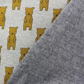 Tissu sweat envers minkee My sweety bear - girs/jaune x 10cm