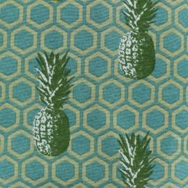 Tissu toile de coton Pineapple party - vert x 10cm