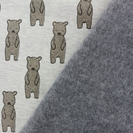 Tissu sweat envers minkee My sweety bear - gris x 10cm