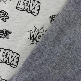 Tissu sweat envers minkee La promenade des hérissons - gris x 10cm