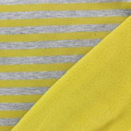 Tissu Sweat envers minkee Stripes - jaune / gris  x 10cm