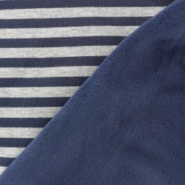 Sweat with minkee reverse side Stripes fabric - midbight blue / grey x 10cm