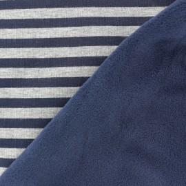 Tissu Sweat envers minkee Stripes - bleu nuit / gris  x 10cm