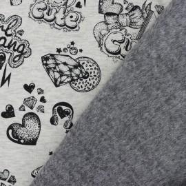 Tissu sweat envers minkee Girl gang - gris x 30cm