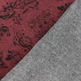 Tissu sweat envers minkee Girl gang - rouge x 30cm