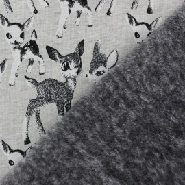 Sweat with minkee reverse side The fawns - grey x 10cm