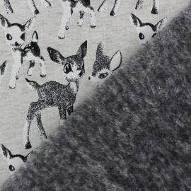 Tissu sweat envers minkee Les faons - gris x 10cm