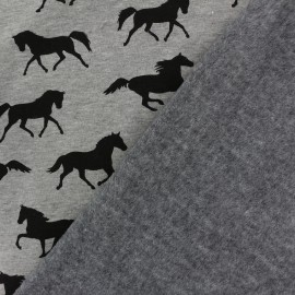 Tissu sweat envers minkee Au galop - gris x 10cm