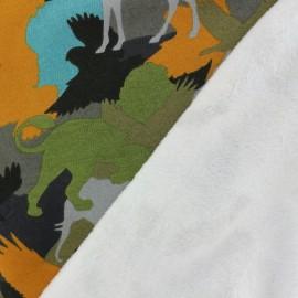 Tissu sweat envers minkee Blending in the forest - multicolore/orange x 34cm