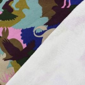 Tissu sweat envers minkee Blending in the forest - multicolore/rose x 34cm