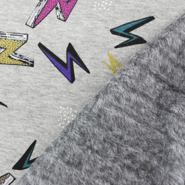Tissu sweat envers minkee Thunder - gris clair x 10cm