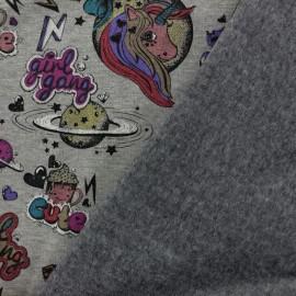 Tissu sweat envers minkee Girl gang - gris foncé/multicolore x 30cm