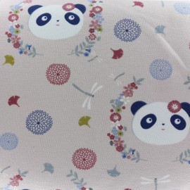 Tissu sweat léger The Panda dream - rose x 20cm