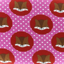 Squirrels and tiny dots Jersey fabric - pink x 10cm