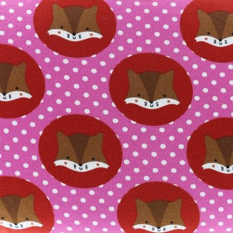 Tissu Jersey Écureuils et Petits pois - rose x 10cm