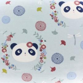 Light sweat fabric The Panda dream - blue x 20cm