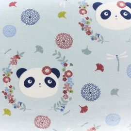 Tissu sweat léger The Panda dream - bleu x 20cm