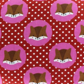 Tissu Jersey Écureuils et Petits pois - framboise x 10cm