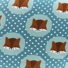 Tissu Jersey Écureuils et Petits pois - céladon sombre x 10cm