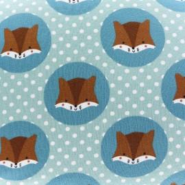 Tissu Jersey Écureuils et Petits pois - céladon x 10cm