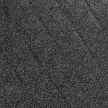 Quilted Flecked Jersey Fabric - anthracite x 10cm