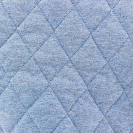 Tissu jersey doublure matelassée Chiné - bleu x 10cm