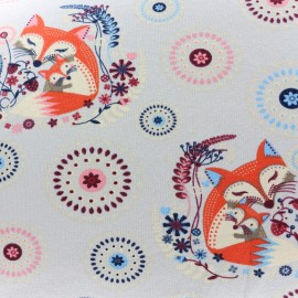 Light sweat fabric Mother and baby fox - grey x 19cm