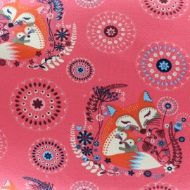 Light sweat fabric Mother and baby fox - pink x 19cm