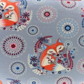 Tissu sweat léger Mother and baby fox - bleu gris x 19cm