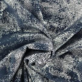 Tissu Suédine Aspect vieilli - bleu/argent x 10cm