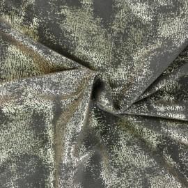 Tissu Suédine Aspect vieilli - kaki/doré x 10cm