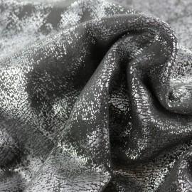 Tissu Suédine Aspect vieilli - anthracite/argent x 10cm