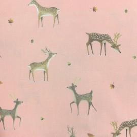 Cotton fabric Woodland bear - pink x 10cm