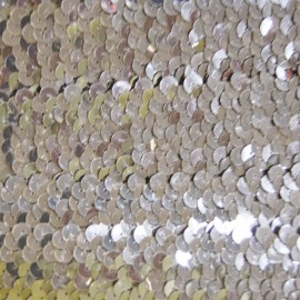 Elastic braid trimming with sequins - silver