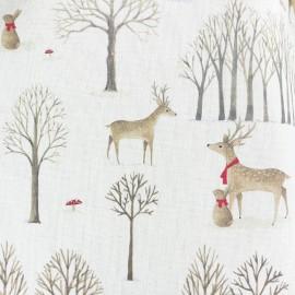 Tissu toile de coton Christmas woodland - biche x 10cm