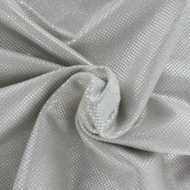 Tissu Suédine perlé brillant - beige/argent x 10cm