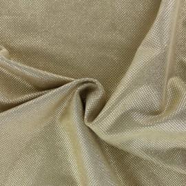 Tissu Suédine perlé brillant - beige/doré x 10cm