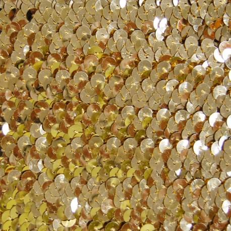 Galon paillettes élastique or