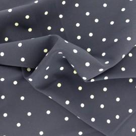 Tissu polyester effet mat Joli pois - bleu nuit x 10cm
