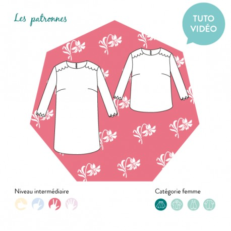 Sewing pattern woman Les patronnes Top and Dress - Morris
