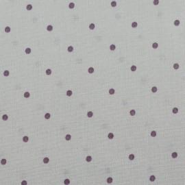 Tissu enduit de coton brillant France Duval Pois - gris/violet x 10cm