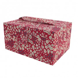 Sewing box Frou Frou Flower fabric - Glamour Bordeaux