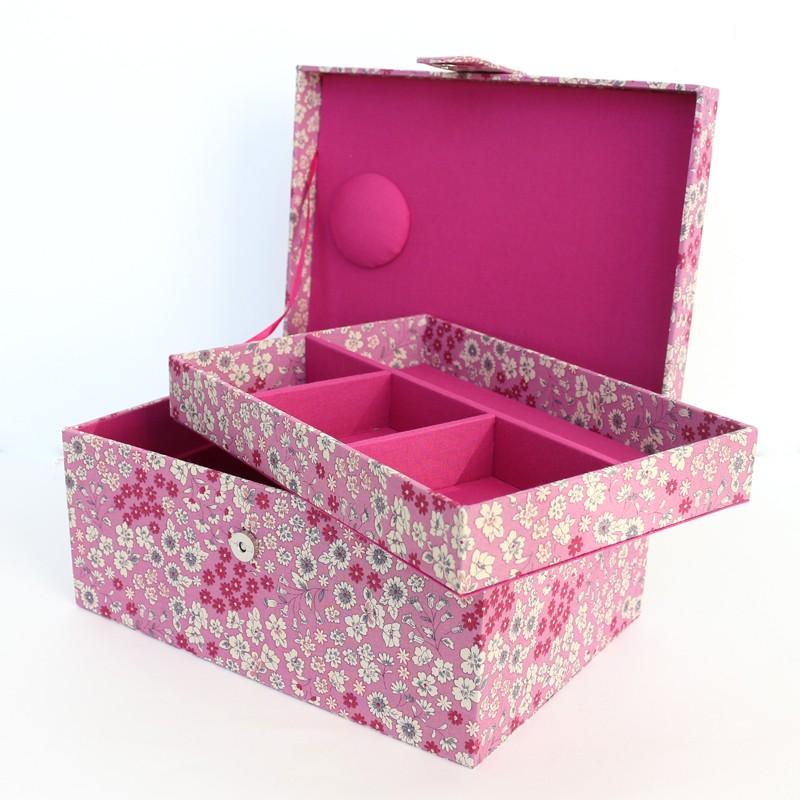 Bo te couture frou frou tissu fleuri rose des indes for Boite de couture enfant