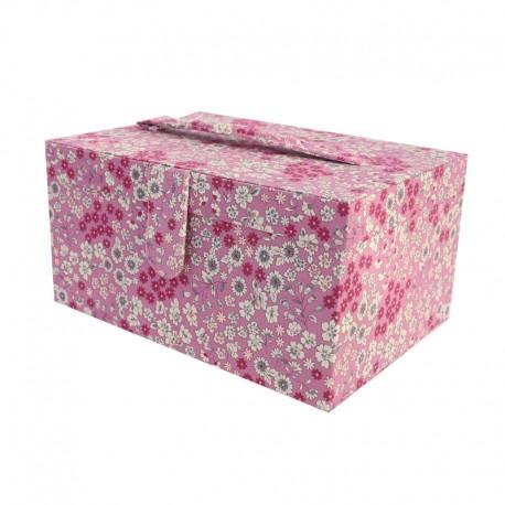 Bo te couture frou frou tissu fleuri rose des indes for Rangement tissu couture