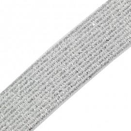Brillantine lurex elastic ribbon - silver x 1m
