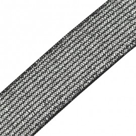 Brillantine lurex elastic ribbon - black silver x 1m