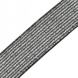 Ruban élastique lurex Brillantine - argent noir x 1m