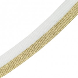 Brillantine lurex elastic ribbon - gold/white x 1m